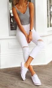 White Distressed Cropped Jeans Grey Knit Tank Converse Sneakers