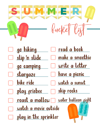 Adults Free Printable Summer Bucket List Ideas Template Family For Kids