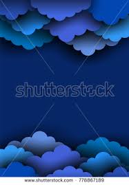 Blue Paper Cut Clouds On Dark Background Border For Design With Clipping Mask