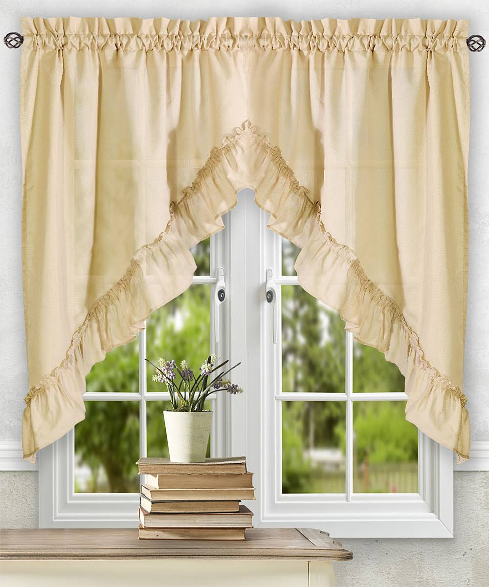 Ellis Curtain Stacey Ruffled Swag Almond