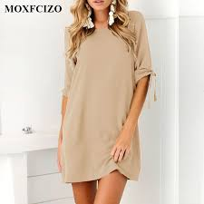 MOXFCIZO Women Vintage Dress Black Green Summer Dresses Fashion Casual Womens Clothing Solid Simple Short Sleeves Vestidos In From