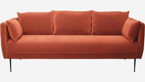 3 sitzer sofa aus samt orange