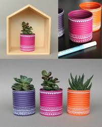 Creative Craft Ideas Old Cans Reuse Colored Make Plant Containers