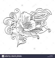 Abstract Flower Cartoon Vector Black And White Contour Hand Drawn Outline Monochrome Illustration