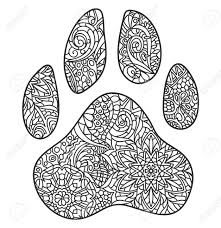 A Vector Monochrome Hand Drawn Zentagle Illustration Of Dog Paw Print Coloring Page Isolated On