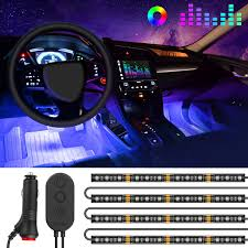 Amazoncom OneLine Car Interior Lights MINGER 4pcs 48 LED RGB