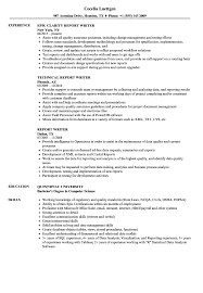 Download Report Writer Resume Sample As Image File