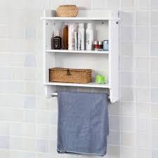 sobuy badezimmerschrank mit 1 handtuchstange wandregal küchenschrank frg239 w