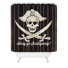 Ahoy Ye Scallywag Pirate Flag Shower Curtain Anderson Design Group