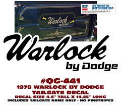 100 Warlock Truck QG441 1978 DODGE WARLOCK TRUCK WARLOCK BY DODGE TAILGATE DECAL