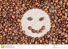 Coffee Beans Happy Smile On Burlap