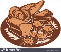 Baked Goods Retro style illustration of pastry products showing loaf of bread muffin
