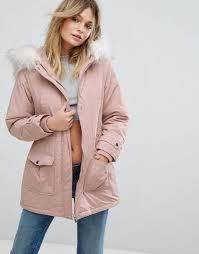 New Look Faux Fur Hood Parka Coat Women Light pink Coats