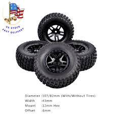 100 Hpi Rc Trucks US 4Pcs TRAXXAS SLASH Short Course Rubber Tire Wheel Rims For 110