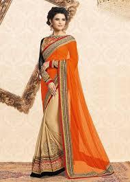 Picture Of Alluring Beige And Orange Designer Silk Saree