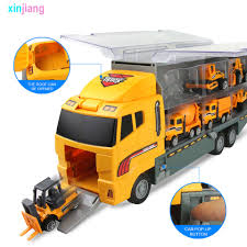 100 Big Truck Toys 6PCS Mini Alloy Diecast Car Model 164 Scale Vehicles Carrier Engineering Car For Kids Boys