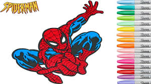 Spiderman Coloring Book Pages Marvel Superhero Rainbow Splash