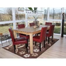 6x esszimmerstuhl stuhl küchenstuhl littau kunstleder rot dunkle beine