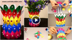 DIY Flower Vase Of Recycled Plastic Spoons Easy Crafts Made With Step By Video Tutorial
