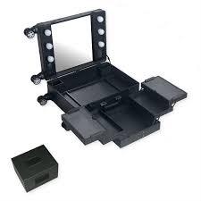 Professional illuminated vanity case LED dimming mirror holder