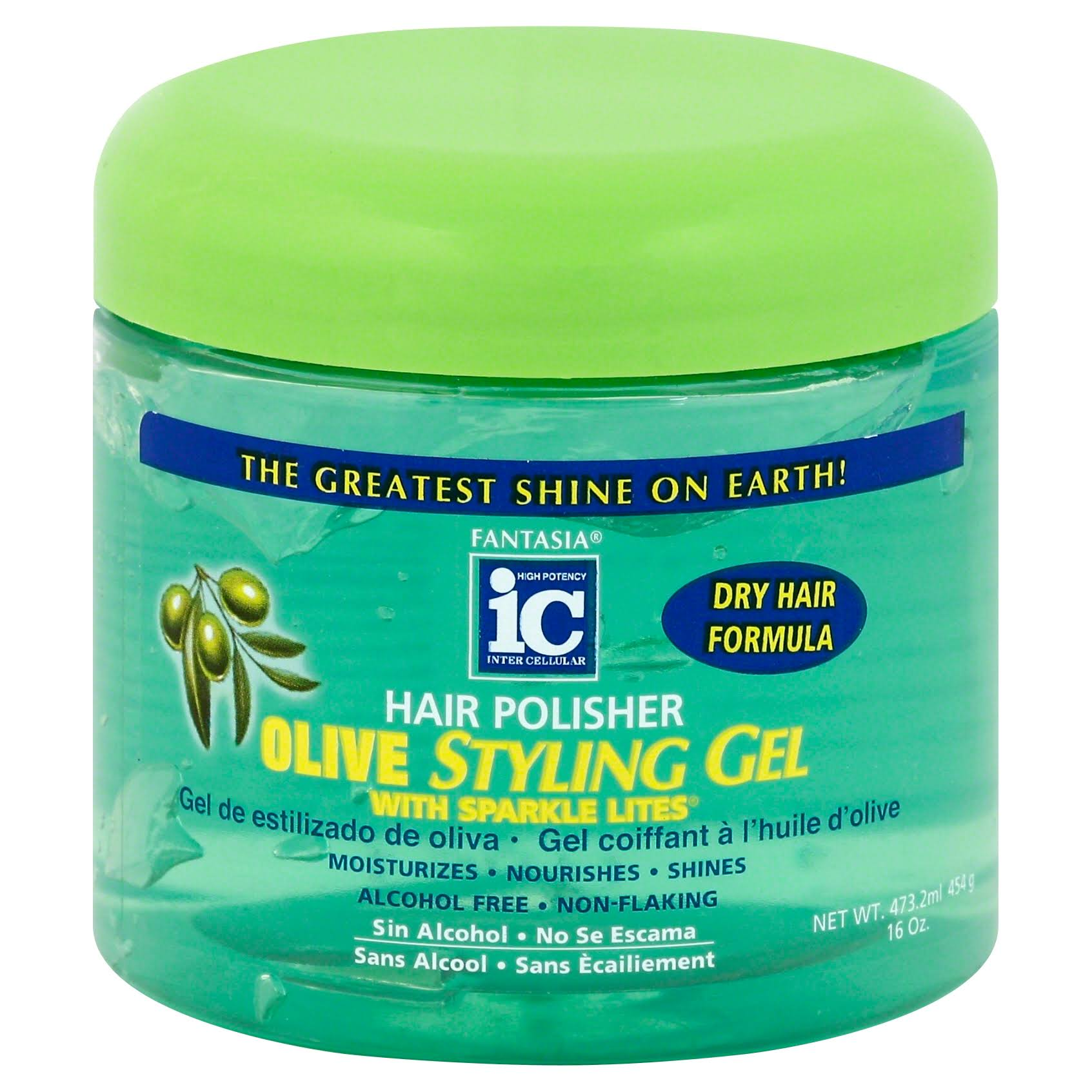 Fantasia Hair Polisher Gel - With Sparkles, Olive, 473 ml