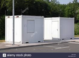 100 Converted Containers Two White Cargo In ROoms Stock Photo