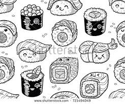 Cute Seamless Pattern With Cartoon Rolls And Sushi In Kawaii Style Tasty Japanese Food