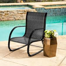 Abbyson Gabriela Black Outdoor Wicker Rocking Chair