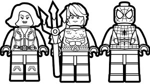 Lego Spiderman And Aquaman Black Widow Coloring Book Pages Kids Fun Art