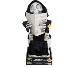 Outdoor Halloween Decorations Walmart by Animated Bathroom Reaper Halloween Decoration Walmart Com