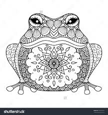 Hand Drawn Zentangle Frog For Coloring Book Adult Shirt Design