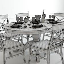 Aarons Dining Room Tables by Pottery Barn Sumner And Aaron Dining Set 3d Model Max Obj Fbx Mtl