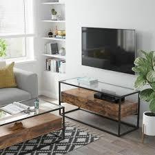 vasagle tv tisch für fernseher bis 55 zoll tv regal fernsehtisch lowboard glastisch 2 schubladen wohnzimmer schlafzimmer hartglas