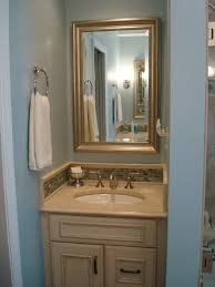 Baby Blue And Brown Bathroom Set by Light Brown Polished Wooden Single Bathroom Vanity Cabinet With