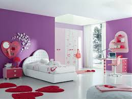 Girly Bedroom Design With Purple Wall Paint Paired Love Single Bed And Chic Desk Plus Swivel