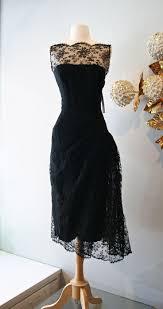 Cheap Vintage Cocktail Dresses 1950s Black Lace Prom Dress Sheer