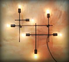 crafted industrial grid wall sconce bare edison bulbs by