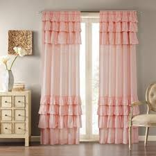 Pink Ruffled Window Curtains by Lush Decor Pink 84 Inch Ruffle Curtain Panel Free Shipping On