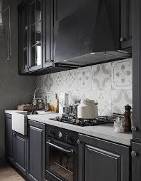 Mid Century Modern Dark Grey Kitchen With White Touches