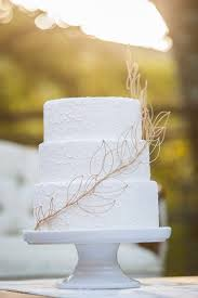 Simple White Three Tiered Wedding Cake With Birch