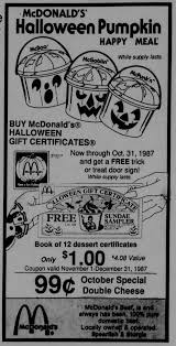 Mcdonalds Halloween Buckets by 80s And U002790s Halloween Newspaper Ads Dinosaur Dracula