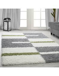 langflor hochflor wohnzimmer shaggy teppich florhöhe 3cm grau weiss grün
