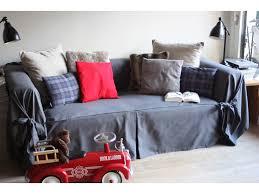 drap canapé housse de canapé bachette 3 places 100 coton à nouettes ines gris