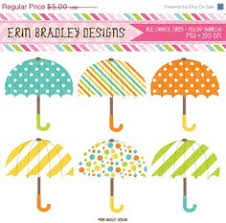 Umbrella Clipart Graphics Digital Rainy Day Clip Art Blue Orange Yellow Green Instant Download Great For Baby Showers