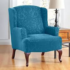 Oversized Wingback Chair Slipcovers by Beautiful Damask Wing Chair Slipcover And Wingback Recliner With