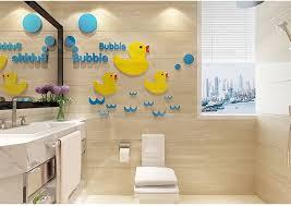 große gelbe ente 3d acryl kristall wandaufkleber für kinderzimmer kreative diy kinderzimmer kindergarten badezimmer startseite decor