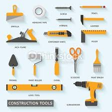 Construction Tools Vector Icons Set Hand Equipment Collection In Flat Style