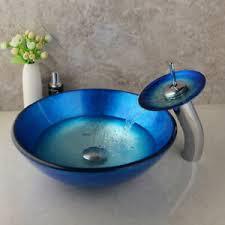 details zu badezimmer blau glas waschbecken lavabo vanity sink wasserfall wasserhahn set