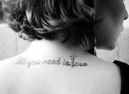 Nice Girl Upper Back Love Quote Tattoo