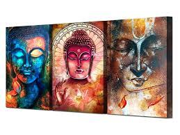 Buddah Wall Art 3 Piece On Canvas Multi Colored Ash Decor